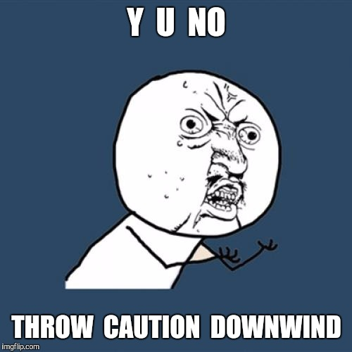 Y U No Meme | Y  U  NO THROW  CAUTION  DOWNWIND | image tagged in memes,y u no | made w/ Imgflip meme maker