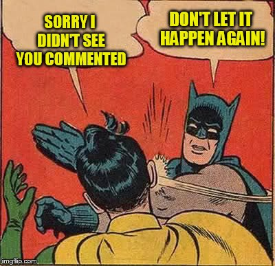 Batman Slapping Robin Meme | SORRY I DIDN'T SEE YOU COMMENTED DON'T LET IT HAPPEN AGAIN! | image tagged in memes,batman slapping robin | made w/ Imgflip meme maker