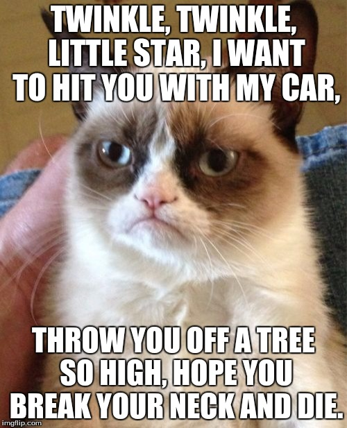 Grumpy Cat Meme |  TWINKLE, TWINKLE, LITTLE STAR, I WANT TO HIT YOU WITH MY CAR, THROW YOU OFF A TREE SO HIGH, HOPE YOU BREAK YOUR NECK AND DIE. | image tagged in memes,grumpy cat | made w/ Imgflip meme maker
