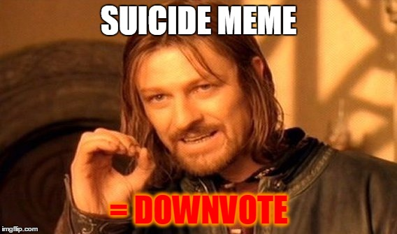 One Does Not Simply Meme | SUICIDE MEME = DOWNVOTE | image tagged in memes,one does not simply | made w/ Imgflip meme maker