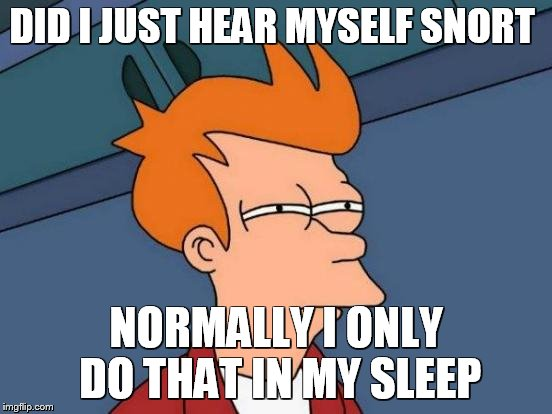 DID I JUST HEAR MYSELF SNORT NORMALLY I ONLY DO THAT IN MY SLEEP | image tagged in memes,futurama fry | made w/ Imgflip meme maker