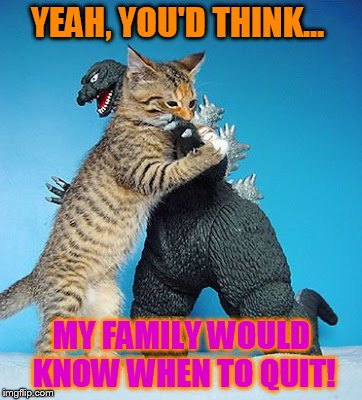 Cat vs Godzilla | YEAH, YOU'D THINK... MY FAMILY WOULD KNOW WHEN TO QUIT! | image tagged in cat vs godzilla | made w/ Imgflip meme maker