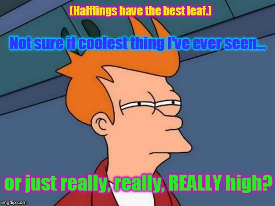 Futurama Fry Meme | Not sure if coolest thing I've ever seen... or just really, really, REALLY high? (Halflings have the best leaf.) | image tagged in memes,futurama fry | made w/ Imgflip meme maker