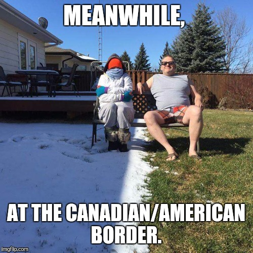 MEANWHILE, AT THE CANADIAN/AMERICAN BORDER. | image tagged in memes | made w/ Imgflip meme maker