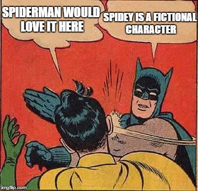 Batman Slapping Robin Meme | SPIDERMAN WOULD LOVE IT HERE SPIDEY IS A FICTIONAL CHARACTER | image tagged in memes,batman slapping robin | made w/ Imgflip meme maker
