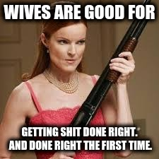 It takes a woman to do a man's job | WIVES ARE GOOD FOR GETTING SHIT DONE RIGHT. AND DONE RIGHT THE FIRST TIME. | image tagged in wife with a shotgun,you're doing it wrong,wonder woman,angry woman,real housewives,working girl | made w/ Imgflip meme maker