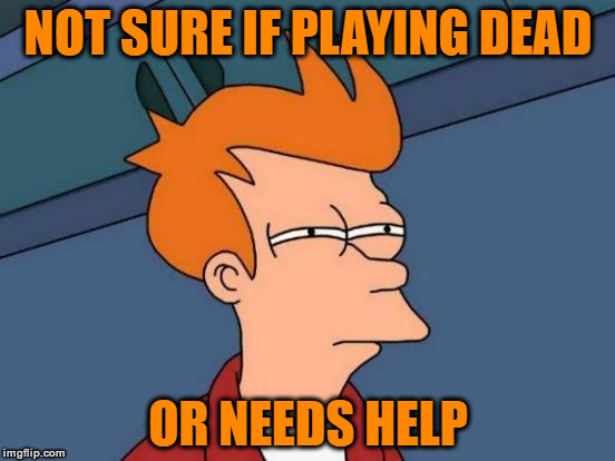 Not Sure If Playing Dead... | NOT SURE IF PLAYING DEAD OR NEEDS HELP | image tagged in memes,futurama fry,playing dead,do you need help,call 911 | made w/ Imgflip meme maker