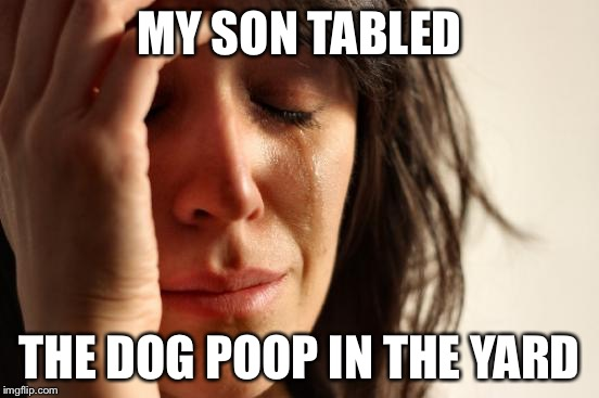 First World Problems Meme | MY SON TABLED THE DOG POOP IN THE YARD | image tagged in memes,first world problems | made w/ Imgflip meme maker