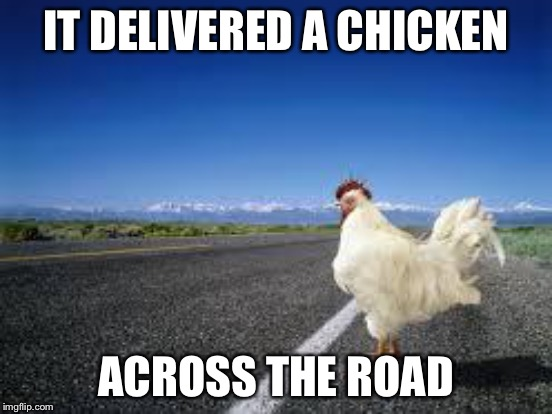 IT DELIVERED A CHICKEN ACROSS THE ROAD | made w/ Imgflip meme maker