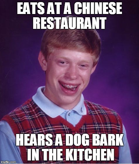 Bad Luck Brian Meme | EATS AT A CHINESE RESTAURANT HEARS A DOG BARK IN THE KITCHEN | image tagged in memes,bad luck brian | made w/ Imgflip meme maker