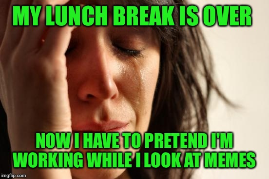First World Problems Meme | MY LUNCH BREAK IS OVER NOW I HAVE TO PRETEND I'M WORKING WHILE I LOOK AT MEMES | image tagged in memes,first world problems | made w/ Imgflip meme maker