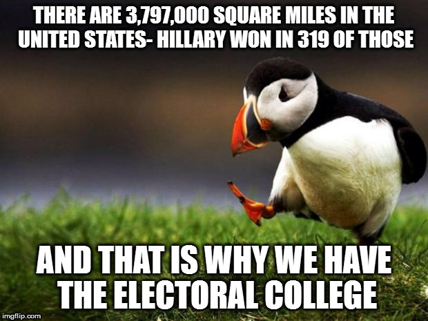 Unpopular Opinion Puffin Meme | THERE ARE 3,797,000 SQUARE MILES IN THE UNITED STATES- HILLARY WON IN 319 OF THOSE AND THAT IS WHY WE HAVE THE ELECTORAL COLLEGE | image tagged in memes,unpopular opinion puffin | made w/ Imgflip meme maker