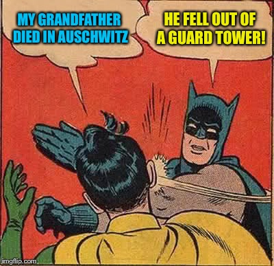 Batman Slapping Robin Meme | MY GRANDFATHER DIED IN AUSCHWITZ HE FELL OUT OF A GUARD TOWER! | image tagged in memes,batman slapping robin | made w/ Imgflip meme maker