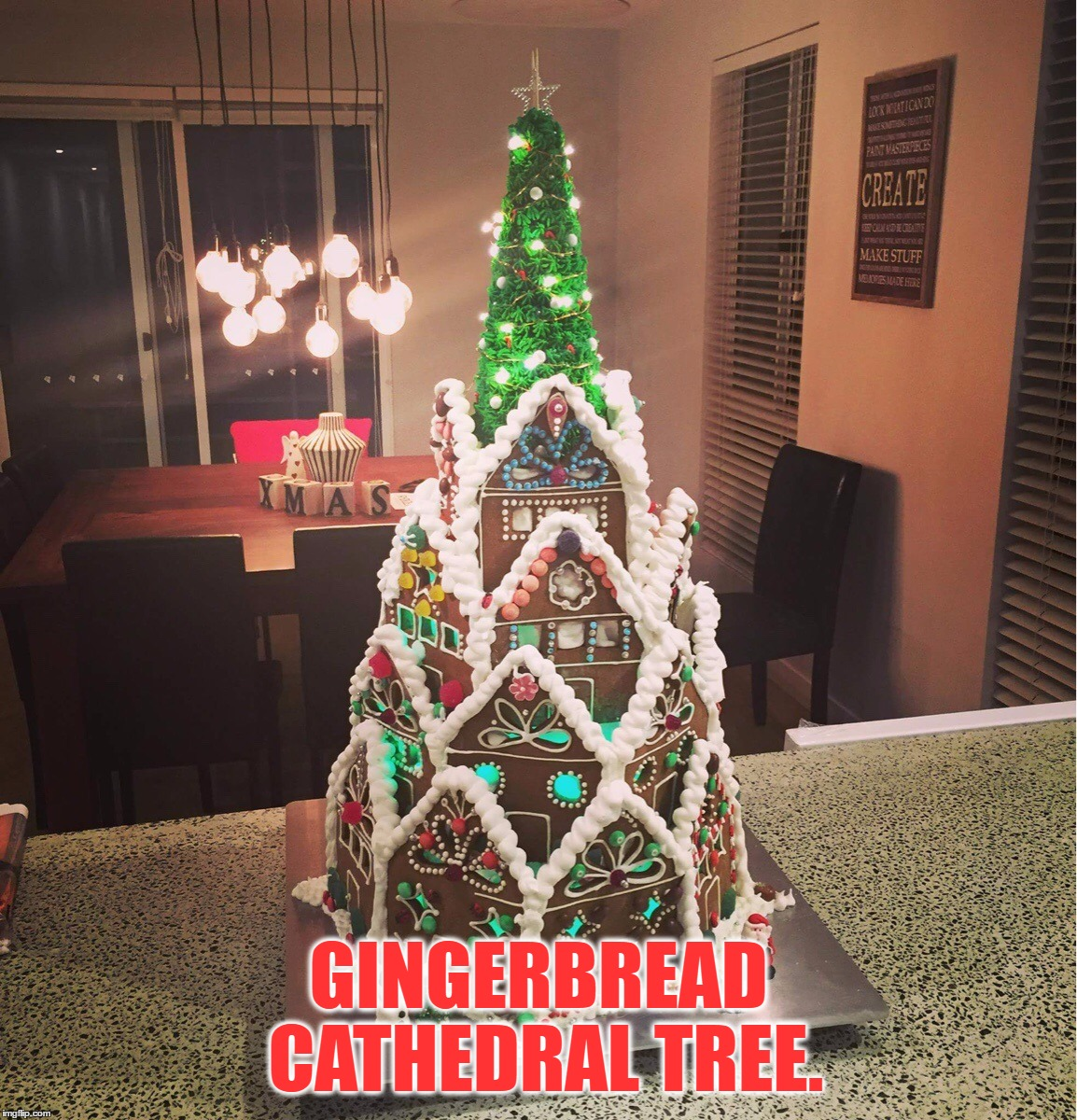 Anyone A Fan Of Gingerbread? 8 Days Left Until Christmas... | GINGERBREAD CATHEDRAL TREE. | image tagged in memes,christmas,christmas tree,cathedral,gingerbread,awesome | made w/ Imgflip meme maker