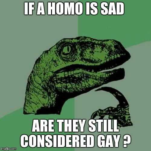 Philosoraptor Meme | IF A HOMO IS SAD ARE THEY STILL CONSIDERED GAY ? | image tagged in memes,philosoraptor | made w/ Imgflip meme maker