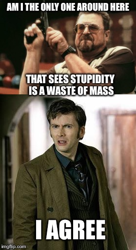 AM I THE ONLY ONE AROUND HERE THAT SEES STUPIDITY IS A WASTE OF MASS I AGREE | made w/ Imgflip meme maker