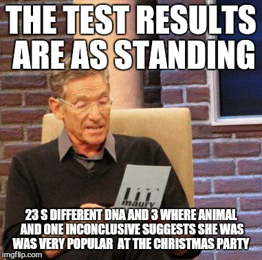 Maury Lie Detector Meme | THE TEST RESULTS ARE AS STANDING 23 S DIFFERENT DNA AND 3 WHERE ANIMAL AND ONE INCONCLUSIVE SUGGESTS SHE WAS WAS VERY POPULAR  AT THE CHRIST | image tagged in memes,maury lie detector | made w/ Imgflip meme maker