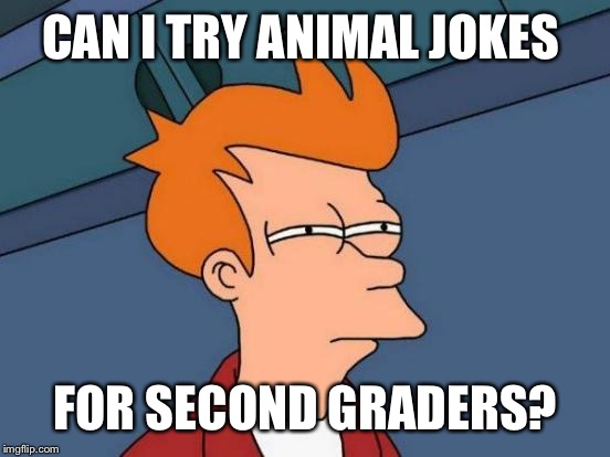 Futurama Fry Meme | CAN I TRY ANIMAL JOKES FOR SECOND GRADERS? | image tagged in memes,futurama fry | made w/ Imgflip meme maker
