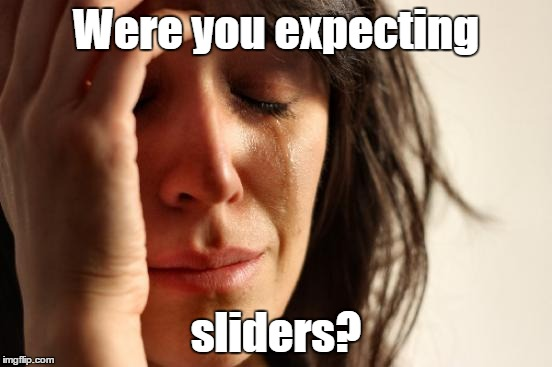 First World Problems Meme | Were you expecting sliders? | image tagged in memes,first world problems | made w/ Imgflip meme maker