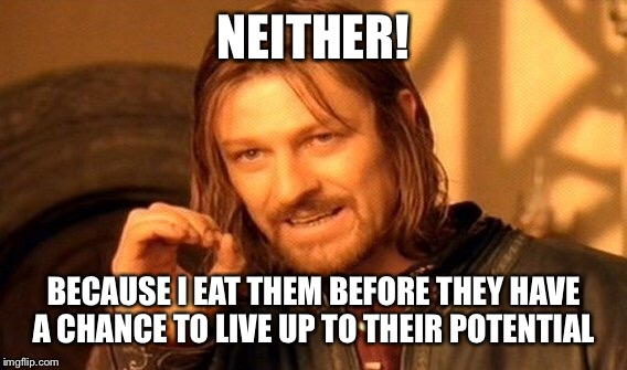 One Does Not Simply Meme | NEITHER! BECAUSE I EAT THEM BEFORE THEY HAVE A CHANCE TO LIVE UP TO THEIR POTENTIAL | image tagged in memes,one does not simply | made w/ Imgflip meme maker