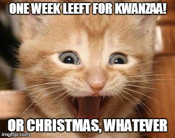 Excited Cat | ONE WEEK LEEFT FOR KWANZAA! OR CHRISTMAS, WHATEVER | image tagged in memes,excited cat | made w/ Imgflip meme maker