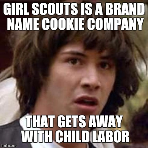 Conspiracy Keanu Meme | GIRL SCOUTS IS A BRAND NAME COOKIE COMPANY THAT GETS AWAY WITH CHILD LABOR | image tagged in memes,conspiracy keanu | made w/ Imgflip meme maker