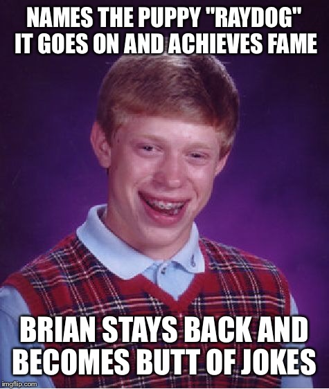"Bad Luck Brian Meme | NAMES THE PUPPY ""RAYDOG"" IT GOES ON AND ACHIEVES FAME BRIAN STAYS BACK AND BECOMES BUTT OF JOKES 