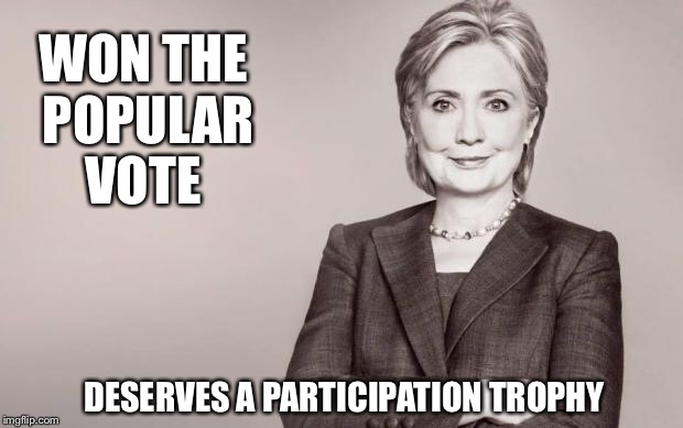 The beatings will continue until the whining stops | WON THE POPULAR VOTE DESERVES A PARTICIPATION TROPHY | image tagged in hillary,popular vote,participation trophy | made w/ Imgflip meme maker
