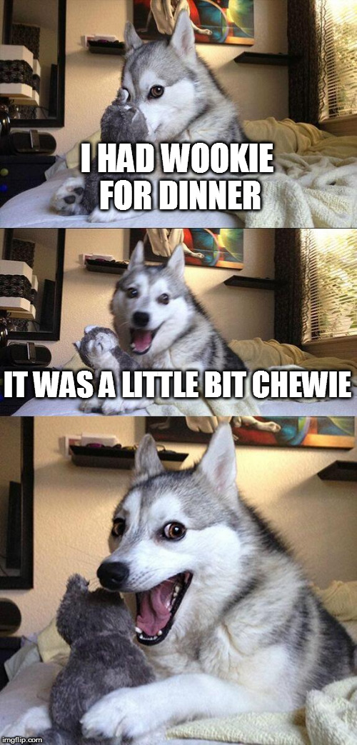 Bad Pun Dog Meme | I HAD WOOKIE FOR DINNER IT WAS A LITTLE BIT CHEWIE | image tagged in memes,bad pun dog | made w/ Imgflip meme maker