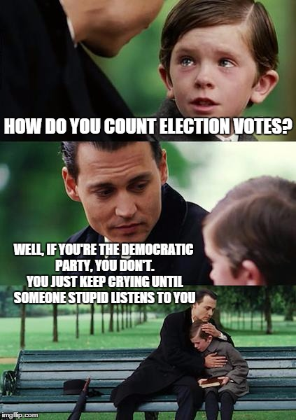 Finding Neverland Meme | HOW DO YOU COUNT ELECTION VOTES? WELL, IF YOU'RE THE DEMOCRATIC PARTY, YOU DON'T. YOU JUST KEEP CRYING UNTIL SOMEONE STUPID LISTENS TO YOU | image tagged in memes,finding neverland | made w/ Imgflip meme maker
