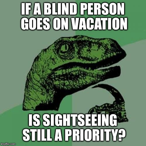 Philosoraptor Meme | IF A BLIND PERSON GOES ON VACATION IS SIGHTSEEING STILL A PRIORITY? | image tagged in memes,philosoraptor | made w/ Imgflip meme maker