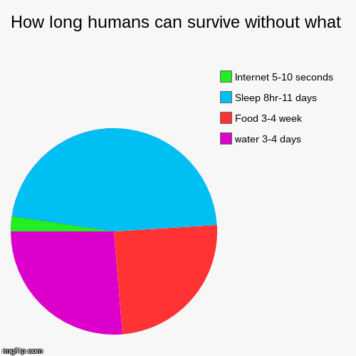 How long humans can survive without what | How long humans can survive without what | water 3-4 days, Food 3-4 week, Sleep 8hr-11 days, Internet 5-10 seconds | image tagged in funny,pie charts,no internet,blue,green,red | made w/ Imgflip pie chart maker