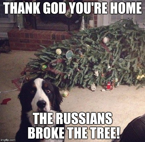 Dog Christmas Tree | THANK GOD YOU'RE HOME THE RUSSIANS BROKE THE TREE! | image tagged in dog christmas tree | made w/ Imgflip meme maker