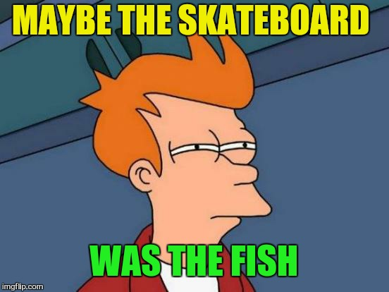 Futurama Fry Meme | MAYBE THE SKATEBOARD WAS THE FISH | image tagged in memes,futurama fry | made w/ Imgflip meme maker