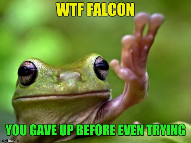 WTF FALCON YOU GAVE UP BEFORE EVEN TRYING | made w/ Imgflip meme maker