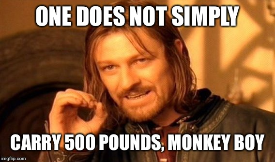 One Does Not Simply Meme | ONE DOES NOT SIMPLY CARRY 500 POUNDS, MONKEY BOY | image tagged in memes,one does not simply | made w/ Imgflip meme maker