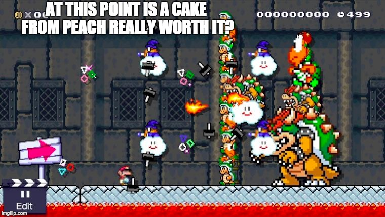 AT THIS POINT IS A CAKE FROM PEACH REALLY WORTH IT? | image tagged in mario,hopeless | made w/ Imgflip meme maker