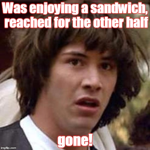 Conspiracy Keanu Meme | Was enjoying a sandwich, reached for the other half gone! | image tagged in memes,conspiracy keanu | made w/ Imgflip meme maker