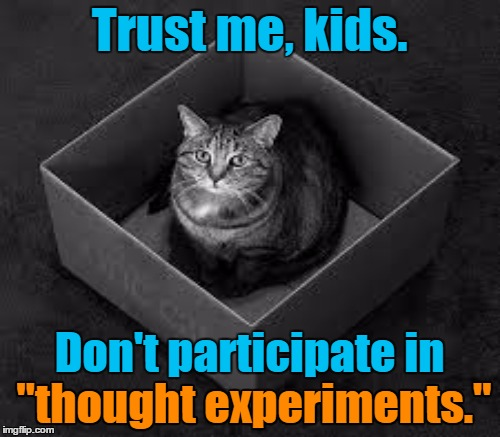 "Trust me, kids. Don't participate in ""thought experiments."" ""thought experiments."" 