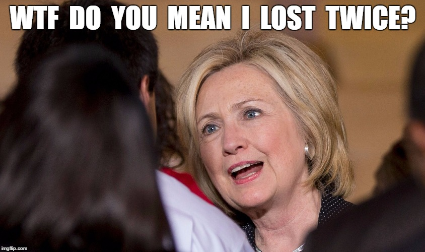 Hillary Lost Twice. | WTF  DO  YOU  MEAN  I  LOST  TWICE? | image tagged in funny,meme | made w/ Imgflip meme maker