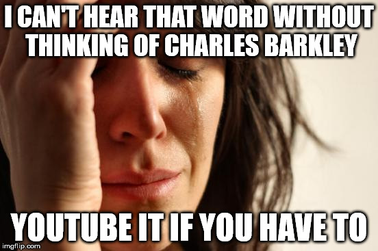 First World Problems Meme | I CAN'T HEAR THAT WORD WITHOUT THINKING OF CHARLES BARKLEY YOUTUBE IT IF YOU HAVE TO | image tagged in memes,first world problems | made w/ Imgflip meme maker