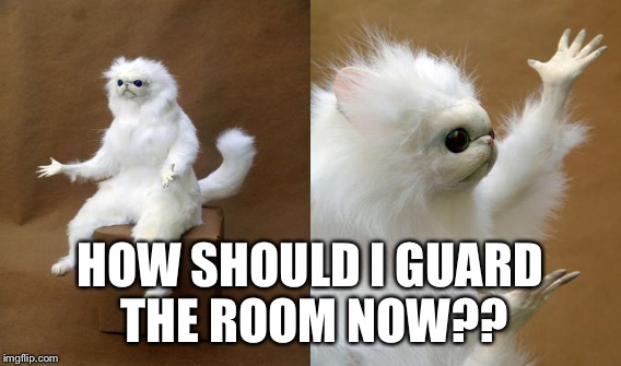 HOW SHOULD I GUARD THE ROOM NOW?? | made w/ Imgflip meme maker