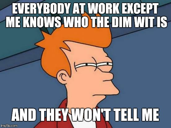Futurama Fry Meme | EVERYBODY AT WORK EXCEPT ME KNOWS WHO THE DIM WIT IS AND THEY WON'T TELL ME | image tagged in memes,futurama fry | made w/ Imgflip meme maker