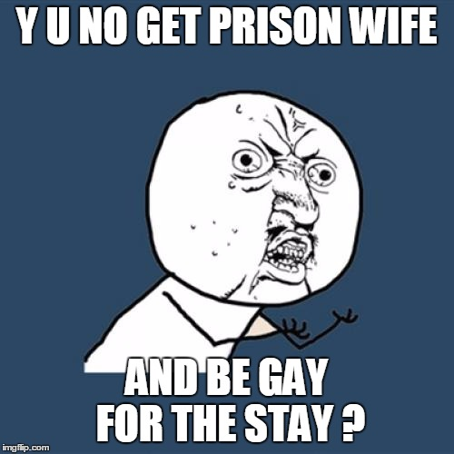 Y U No Meme | Y U NO GET PRISON WIFE AND BE GAY FOR THE STAY ? | image tagged in memes,y u no | made w/ Imgflip meme maker