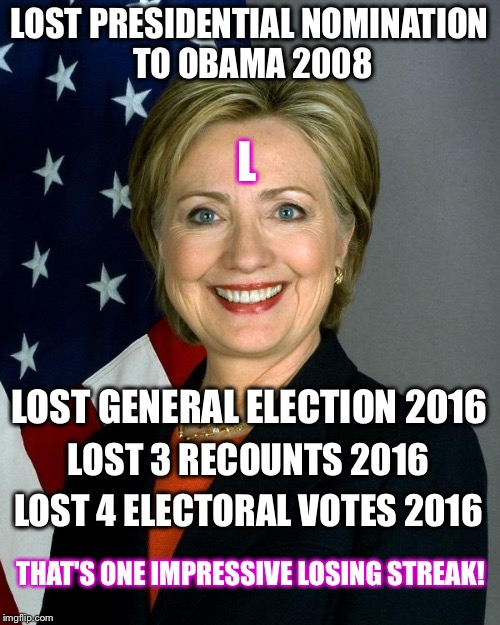You can only fool SOME of the people SOME of the time  |  LOST PRESIDENTIAL NOMINATION TO OBAMA 2008; L; LOST GENERAL ELECTION 2016; LOST 3 RECOUNTS 2016; LOST 4 ELECTORAL VOTES 2016; THAT'S ONE IMPRESSIVE LOSING STREAK! | image tagged in memes,hillary clinton,corrupt,trump,election 2016,loser | made w/ Imgflip meme maker