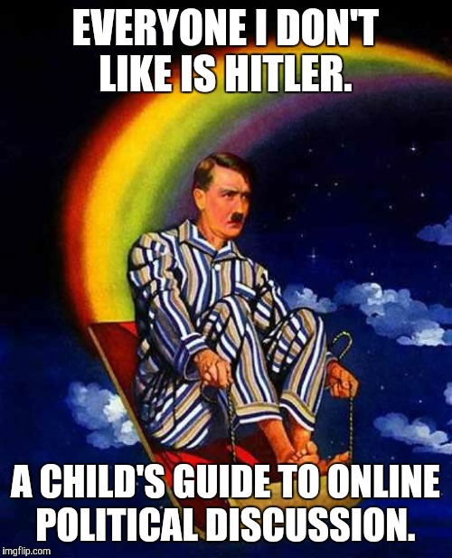 Random Hitler | EVERYONE I DON'T LIKE IS HITLER. A CHILD'S GUIDE TO ONLINE POLITICAL DISCUSSION. | image tagged in random hitler | made w/ Imgflip meme maker