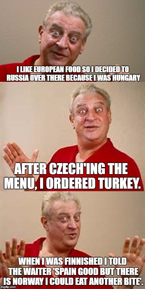 This Meme Has More National Unity than the World Itself Does | I LIKE EUROPEAN FOOD SO I DECIDED TO RUSSIA OVER THERE BECAUSE I WAS HUNGARY WHEN I WAS FINNISHED I TOLD THE WAITER 'SPAIN GOOD BUT THERE IS | image tagged in bad pun dangerfield,memes,funny,food,countries | made w/ Imgflip meme maker
