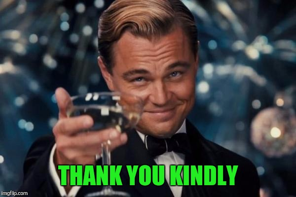 Leonardo Dicaprio Cheers Meme | THANK YOU KINDLY | image tagged in memes,leonardo dicaprio cheers | made w/ Imgflip meme maker