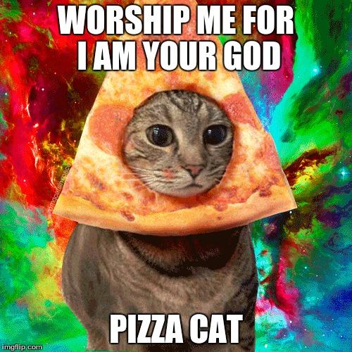 1gbcbw worship the pizza cat imgflip,Pizza Cat Meme