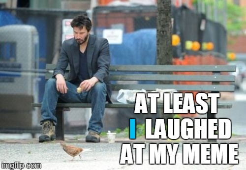 Sad Keanu | I AT LEAST     LAUGHED AT MY MEME | image tagged in memes,sad keanu | made w/ Imgflip meme maker